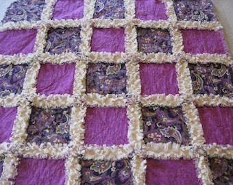 Purple Lavender Flowers and Swirls Minky Backing Baby Shower Gift Crib Blanket Stroller Quilt Baby Girl Rag Quilt Blanket 35x35
