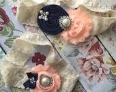 Wedding garter , lace wedding garter , bridal garter set , vintage lace garter , toss garter , garter, navy and peach garter