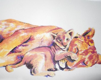 Baby Animal Watercolor Painting