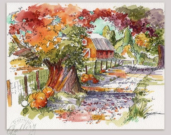 Fall Autumn Pumpkins Farm Barn Country Lane Fine Art Prints from my Original Watercolor Painting
