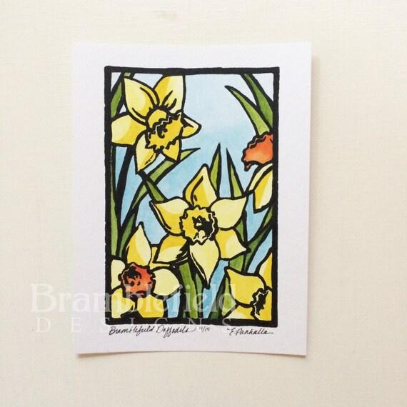 Bramblefield Daffodils  -Hand Painted Linoleum Block Print