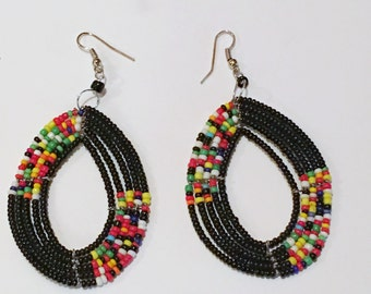 African Tribal Seed Bead Earrings