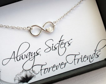 Sisters Bracelet - Always Sisters, Forever Friends - Sterling Silver Infinity Heart Bracelet - Endless Love