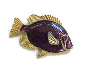 Vintage Purple Poured Enamel Fish Brooch