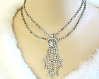 Vintage Clear Rhinestone Dangle Waterfall Necklace