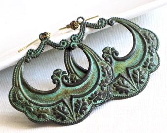 Large Patina Hoop Earrings - Boho, Bohemian, Big Hoop Earrings, Lightweight Earrings, Ornate Earrings