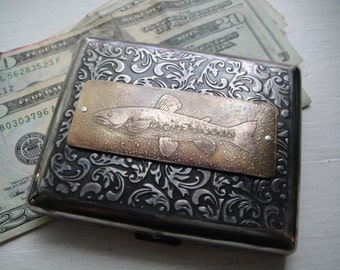 Trout Fish Etched Wallet / Cigarette Case in 100s Victorian
