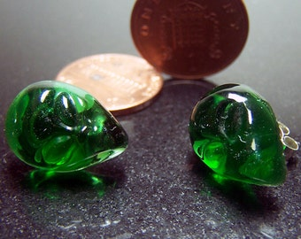 Alien Face Green Transparent Glass Stud Earrings- Handmade Lampwork Glass SRA