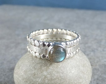 Labradorite Sterling & Fine Silver Stacking Ring Trio - Gemstone Stacker Ring Set - Beaded Wire Rings - READY TO SHIP - size P / size 7.75