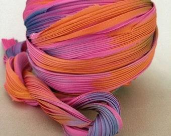 1 yd Hand Dyed Shibori Silk Ribbon Pink Sunset Shibori Girl