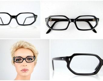 French Black Rectangular Sexy Teacher Nerd Geek Eyeglasses Optical Frame France NOS