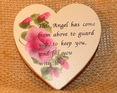 Heart with pink roses Angel saying, magnet,
