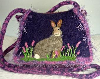 Felted Purse, Felted Handbag, Small Purse, Bunny Art, Rabbit Art, Needle Felt Bunny
