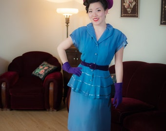 1940s Vintage Dress - Darling Dusty Blue Rayon Peplum 40s Day Dress with Ribbon Stripes and Shirtwaist
