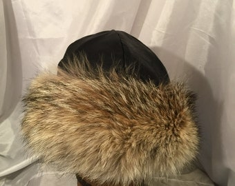 Beautiful Mongolian, Russian, Norse black leather with coyote fur