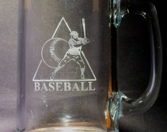 BASEBALL Hand Etched Glassware