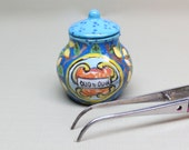 Collector Miniature Italian Pottery Ceramic Olive Oil Jug with Lid Hand Painted OOAK