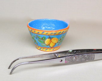 Collector Miniature 1:12 Italian Style Bowl Hand Painted, Lemons Tuscan Hand Painted OOAK