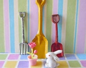 Vintage Dollhouse Miniature Gardening Garden Tools Shovel Rake Plant Rabbit