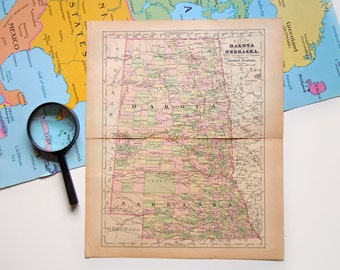 Vintage 1890 Victorian Map of Dakota & Nebraska Antique US Map Johnsons Cycloaedia