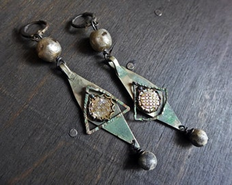 Grungy Glam. Rustic artisan handmade earrings with kuchi in grey. Mixed media assemblage jewelry.