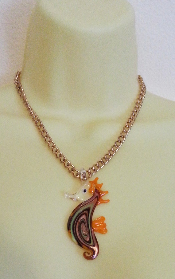 GLASS seahorse neckace sealife necklace orange glass pendant on gold chain necklace