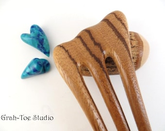 Hair Fork,Zebra Wood Hairfork 3 Prong Threnody, Grahtoe Studio, Hairforks, Wood Hair Accessory,Hair Stick,Hairforks, Hairsticks,gift for her