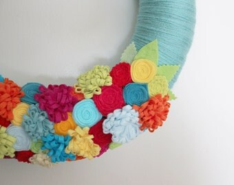 Bright Tropical Wreath, Summer Wreath, Aqua Yarn and Felt Wreath, 14 inch size - Ready to Ship