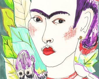 FRIDA KAHLO Drawing / Limited edition Print / Portrait/ mixed media / Feminist / Woman / Mexico / Monkey / size a4