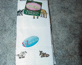 1--Charles Craft--Cross Stitch--TOWEL--Baby Burp Cloth--NOAH'S Animals--Ready To Stitch--Unused