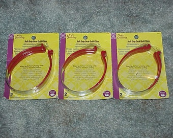 3--Packages--Dritz--Soft Grip Oval Quilt Clips--2 Clips Per Pack--6 Clips Total--QUILTING--Keeps Quilts From Unrolling