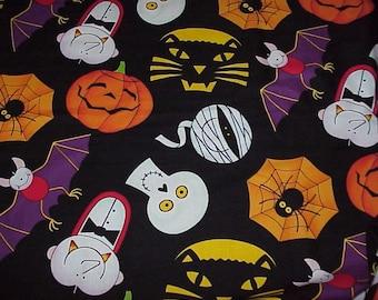 "Halloween FABRIC--Colorful--Large Motifs--3 Yards + 12""--Mummy--Spider--Skull--Vampire--Cat--Bat--Jack O' Lantern"