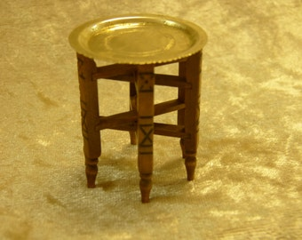 1/12 scale miniature dollhouse  Moroccan folded legs table with brass tray