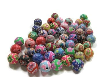 10mm Round Polymer Clay Beads Assorted Variety 50 pieces (D)