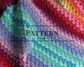 Crochet afghan pattern, Ombre Granny Stripe crochet blanket