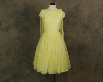 vintage 50s Party Dress - Sheer Yellow Ball Gown - 1950s Draped Cupcake Formal Dress Sz S