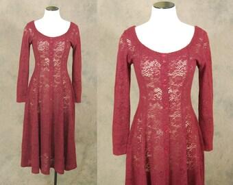 vintage 90s Lace Dress - Maroon Red Sheer Lace Dress - Crochet Dress Sz S M