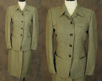 vintage 40s Suit - 1940s Houndstooth Wool Suit Blazer Jacket and Skirt Set Sz S