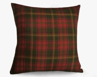 Red Tartan Pillows, Fall Pillow Covers, 14x18 Lumbar, Canadian Tartan Plaid, Autumn Colors, Dark Red Green Gold Ochre, Christmas Decor