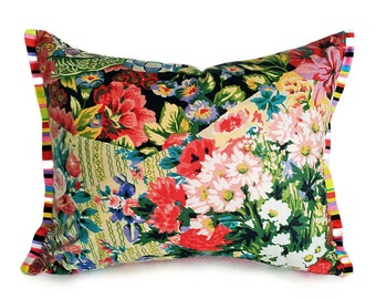 Bohemian Pillow Cover, Unique Pillows, Eclectic Colorful Throw Pillow, Floral Cushion Cover, Flanged Pillow, Lumbar 14x18