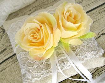 Wedding ring pillow, linen ring bearer, flower ring pillow (Choose your flower colour)