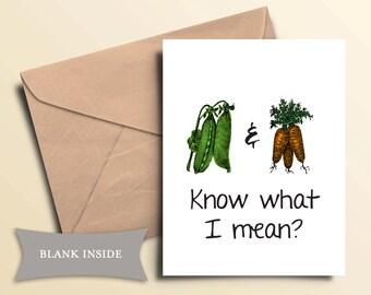 Printable Peas & Carrots Greeting Card