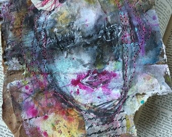 pink portrait on cardboard original mixed media by kristin