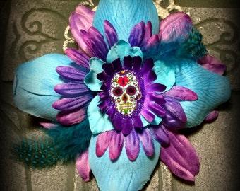 Hair Barrette: Dead Girl Decay - Day of the Dead Sugar Skull Blue Purple Flower Feather Hair Barrette