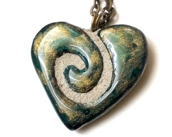Heart Necklace - Handmade Spiral Tile - Emerald Green Blue