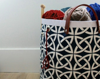 LAST ONE- Knitting Tote, Knitting basket, Knitting bag, Celtic Knots in Oxford Blue