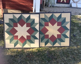 PriMiTiVe Hand-Painted Barn Quilt, 3' x 3'  Dutch Rose Pattern