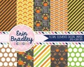 50% OFF SALE Fall Floral Digital Papers Stripes Pumpkins Polka Dotted Autumn Digital Paper Pack in Orange Yellow & Green Commercial Use OK