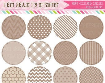 60% OFF SALE Kraft Colored Circle Frames Clipart Commercial Use Clip Art Graphics INSTANT Download