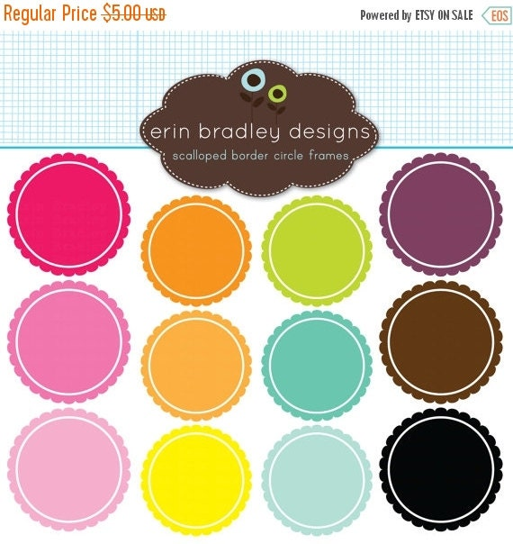 60% OFF SALE Digital Scrapbooking Clipart Clip Art Scalloped Border Circle Frames Personal and Commercial Use